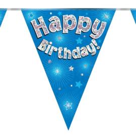 Vlaggenlijn 'Happyy Birthday' Glitter Blauw