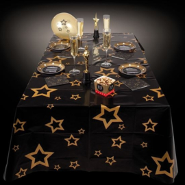 Tafelkleed zwart met gouden sterren 130 x 180 cm