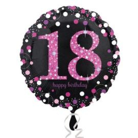 Folieballon 18 Jaar Sparkling Pink 45 cm