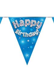 Vlaggenlijn Happy Birthday blauw - 3,9 meter
