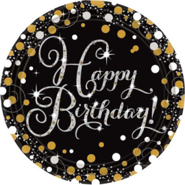 Bordjes Happy Birthday sparkling 23cm Ø 8stuks