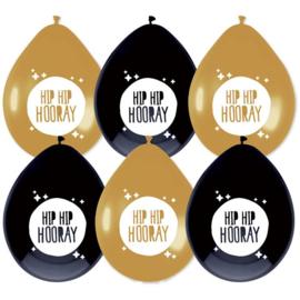Ballonnen Hip Hip Hooray goud & zwart - 6 stuks