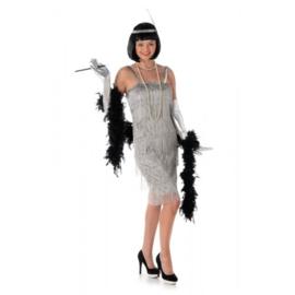 Zilveren Jaren 20 Flapper Charleston jurk 3-delig