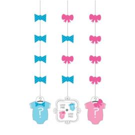 Hangdecoratie bow or bowtie (3st)
