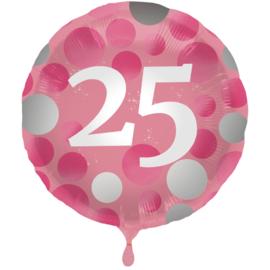 Folieballon Glossy Pink 25 Jaar - 45 cm