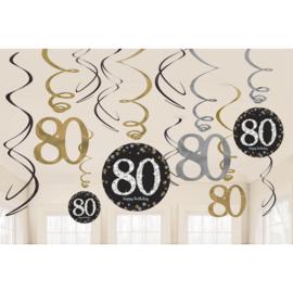 Glitterfeest 80 Jaar Hangende Swirls - 12 stuks