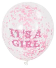 """Confettiballonnen """"It's a girl"""" 30cm - 6 stuks"""