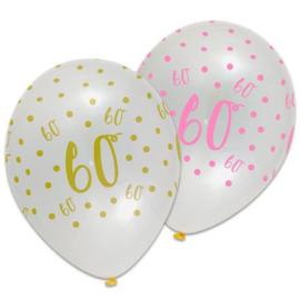 Ballon pink chic '60' (Ø30cm, 6st)