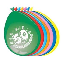 Latex Ballonnen Abraham 50 jaar 8 Stuks