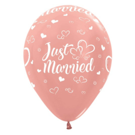 Ballon Just Married Rosé Goud Metallic (1st)