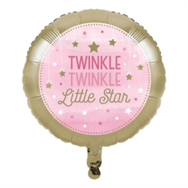 Folieballon 'Twinkle, Twinkle Little Star' Roze - 46 cm
