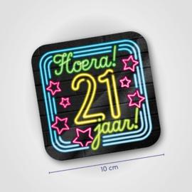 Neon onderzetters - 21 jaar