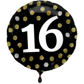 Folieballon Glossy Black 16 Jaar - 45 cm