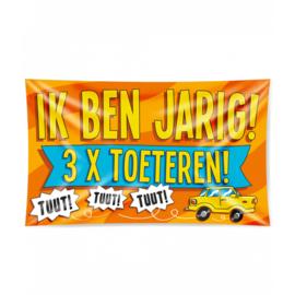 Gevel vlag - Ik ben Jarig! 3x Toeteren! - 90 x 150 cm