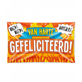 Gevel vlag - Van Harte Gefeliciteerd - 90 x 150 cm