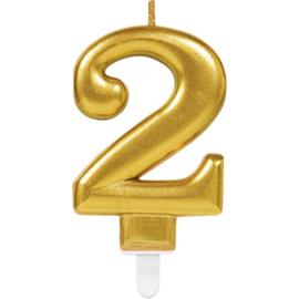 Verjaardag Kaars 2 jaar- Goud 7.5 cm