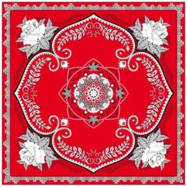 Zakdoek rood met bloemen motief  63 x 63 cm