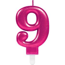 Verjaardag Kaars 9 jaar- Roze 7.5 cm