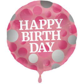 Folieballon Glossy Pink 'Happy Birthday' - 45 cm