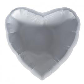 Folieballon hart zilver XL - 80 cm