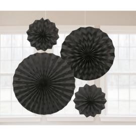 Zwarte Papieren Glitter Waaier Decoraties