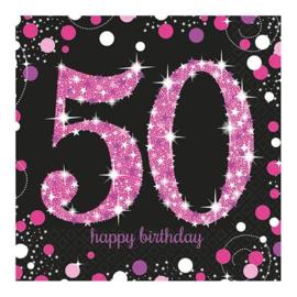 Servetten 50 Sparkling Pink 33 cm 16 stuks