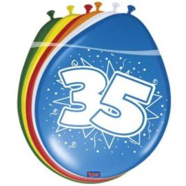 Latex Ballonnen 35 jaar Ster 8 Stuks