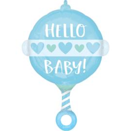 Folieballon Hello Baby Boy Rammelaar - 60 cm