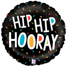 Folieballon Hip Hip Hooray - 45 cm