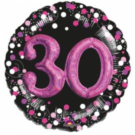 Folieballon 30 Jaar 3D Sparkling Pink 81 cm