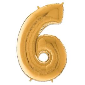 Cijfer 6 Goud - 66 cm