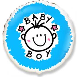 Folieballon geboorte baby Boy 45 cm