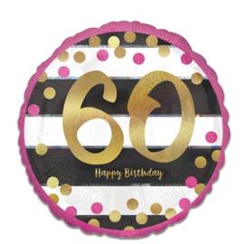 Folieballon 60 Jaar Roze en Goud - 45 cm