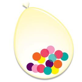 Ballonnen + confetti multi (Ø30cm, 6st)