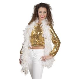 Luxe witte boa met gouden glitters - 1,80 meter