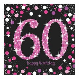 Glitterfeest 60 Jaar Servetten Roze - 16 stuks