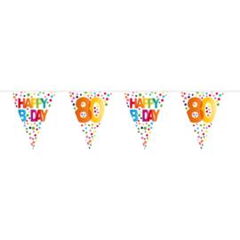 80 Jaar Happy Bday Stippen Vlaggenlijn - 10 meter