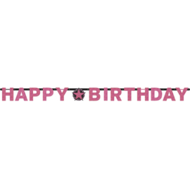 Glitterfeest Happy Birthday Banner Roze - Zwart