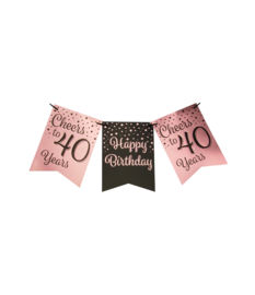 Party flag banner rosé/black - 40