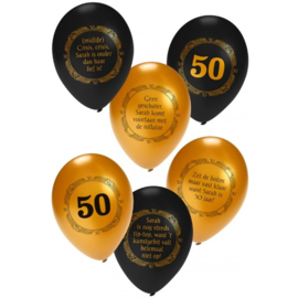 Sarah metallic zwart/goud ballonnen