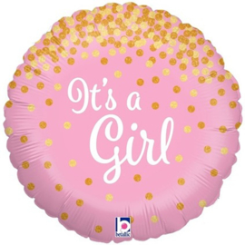 Folieballon Glitters It's a Girl - 45 cm