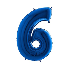 Cijfer 6 Blauw 100 cm