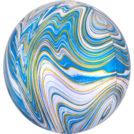 Folieballon Blauwe Marmer Orbz - 41 cm
