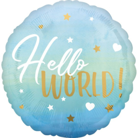 Folieballon Hello World Blauw - 40 cm
