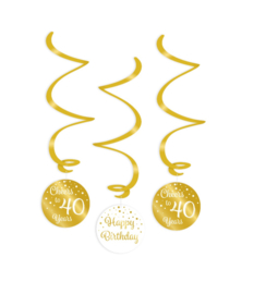 Swirl decorations gold/white - 40