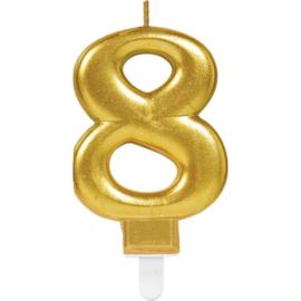 Verjaardag Kaars 8 jaar- Goud 7.5 cm