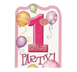 Uitnodigingskaarten - 1st Birthday - Roze - 6 stuks