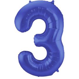 Cijfer 3 Blauw Mat 86 cm
