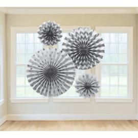 Zilveren Papieren Glitter Waaier Decoraties