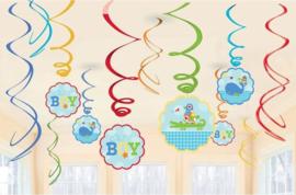 Geboorte jongen hangdecoraties swirl Ahoy Boy - 12 delig